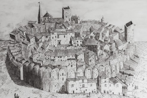 Drawing-of-Arena-City-Arles-France-494x329